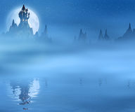 Spooky and dark castle and the moon reflected in water Royalty Free Stock Photos