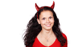 Spooky devil isolated on white background. Spooky female demon isolated on white background Royalty Free Stock Image