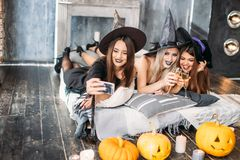 Spooky female friends posing on the selfie royalty free stock images