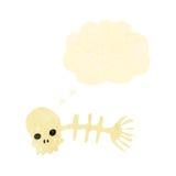 Spooky fish bones retro cartoon. Retro cartoon with texture. Isolated on White Royalty Free Stock Photography