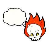 Spooky flaming skull cartoon. Retro cartoon with texture. Isolated on White Stock Photos