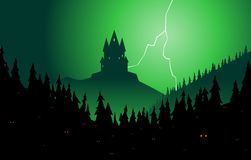Spooky forest and castle Royalty Free Stock Photo
