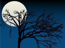 Spooky Full Moon highlight tree hanging noose. Creepy silhouette of lone bent tree holding single empty noose editable  illustration Royalty Free Stock Photos