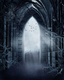 Spooky gate with cobwebs. Dark meadow with a spooky gothic gate, trees, and cobwebs stock illustration