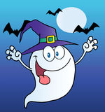 Spooky ghost wearing a witch hat Stock Photo