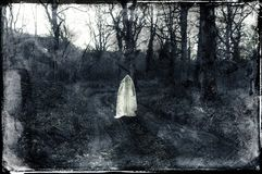 A spooky ghostly white figure standing on a path in a forest in winter. With a grunge, vintage black and white edit.  royalty free stock photo