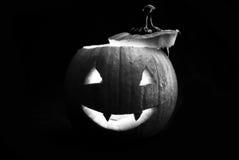 Spooky Glowing Pumpkin Stock Photo