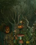 Spooky Goblin Halloween Forest Royalty Free Stock Images