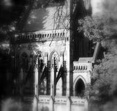 Spooky Gothic crypt. On secluded graveyard road stock image