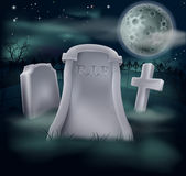 Spooky grave. A spooky grave with RIP written on it and copy space below if you would like to add text. Great for Halloween, and the tombstone looks good as is royalty free illustration