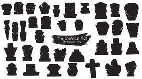 Free Spooky Gravestone Cemetery Silhouette Collection Of Halloween Vector Isolated On White Background. Scary And Creepy Tombstone Stock Photos - 127178663