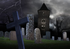 Spooky graveyard Stock Photo