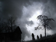Spooky graveyard graphic. For use as background at Halloween Royalty Free Stock Photos