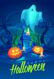 Spooky graveyard. Halloween cardposter. Vector Stock Image