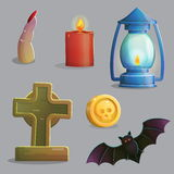 Spooky graveyard items for game design Royalty Free Stock Image
