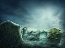 Spooky graveyard. Spooky old graveyard at night Royalty Free Stock Photos