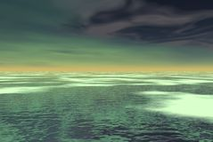 Spooky green. Waters and clouds Stock Images