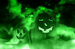 Spooky green pumpkin Royalty Free Stock Image