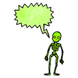 Spooky green skeleton cartoon Stock Images