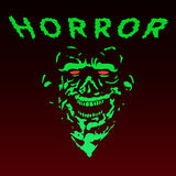 Spooky green zombie face. Vector illustration. Stock Images
