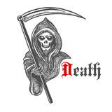 Spooky grim reaper with scythe, sketch style. Spooky death skeleton in hooded cape cloak with scythe. Sketched grim reaper character for Halloween decoration or Royalty Free Stock Photography
