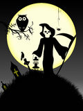Spooky Halloween 3. Happy Halloween with the dead in the graveyard and a owl Royalty Free Stock Images