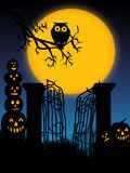 Spooky Halloween 4. Happy Halloween with pumpkins and a owl Royalty Free Stock Photos