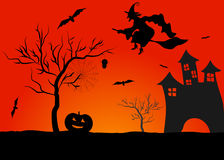 Spooky halloween background. Haunted house in mystic spooky halloween background Royalty Free Stock Photos