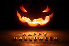 Spooky Halloween background with jack o lantern Stock Photo