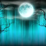 Spooky Halloween background with old trees silhouettes. Royalty Free Stock Photography