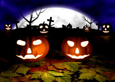 Spooky Halloween background with pumpkins in a Stock Image