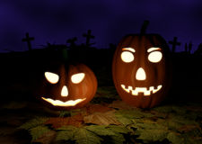 Spooky Halloween background with pumpkins in a Stock Photography