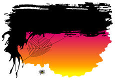 Spooky halloween background with spider Stock Image