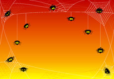 Spooky halloween background with spiders in net Stock Image