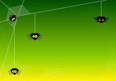 Spooky halloween background with spiders in net Royalty Free Stock Image