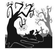 Spooky halloween black trees. On white background Stock Photos