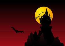 Spooky halloween castle stock photo