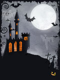 Spooky Halloween castle, vector background Royalty Free Stock Photo