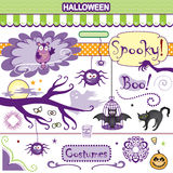 Spooky Halloween Collection Vector Art Set Bat Cat Spiders Owl Royalty Free Stock Photography