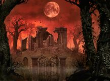 Spooky Halloween Concept Ruins. 3D rendering Halloween concept of old churchyard ruins in a enchanting spooky forest under full moon Royalty Free Illustration