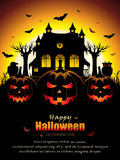 Spooky Halloween Design. Vector illustration of an abstract spooky Halloween design with three Jack O' Lanterns in front of old haunted house Royalty Free Stock Photos
