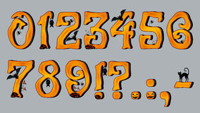 Spooky Halloween Font Number Figures Royalty Free Stock Photos