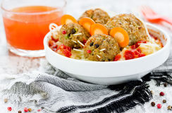 Spooky Halloween Food Idea - mitbolls as a mouse on a potato pur Royalty Free Stock Photography