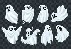 Spooky halloween ghost. Fly phantom spirit with scary face. Ghostly apparition in white fabric vector illustration set stock illustration