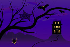 Spooky Halloween House. Vector illustration of a spooky Halloween night with misty night skies, creepy creatures and an isolated Halloween house Stock Image