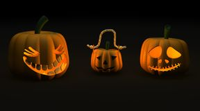 Spooky halloween jack-o-lantern pumpkins Royalty Free Stock Images
