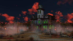 Spooky Halloween mansion at misty dusk 4K. Spooky mansion among fantastic creepy trees with animated Jack-o-lantern Halloween pumpkin jumping on its path at stock illustration
