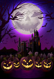 Spooky halloween night. Background for greeting card, EPS 10 contains transparency Royalty Free Stock Photo