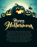 Spooky halloween night with pumpkins. Poster. Stock Photo