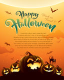 Spooky halloween night with pumpkins. Poster. Royalty Free Stock Images